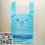 ถุงหูหิ้วขยายข้างสีฟ้าลายหน้าการ์ตูนยิ้ม 23x43x11 cm. 100 ชิ้น : O004693