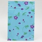 ซองซิปลายดอกไม้สีม่วงพื้นหลังสีฟ้า 100 ชิ้น (คลิกเพื่อเลือกขนาด) 004615
