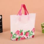 ถุงกระเป๋าตั้งได้สีขาวลายดอกกุหลาบ 33x25+6 cm. 50 ชิ้น : F004642