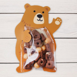 ถุงซองพลาสติกใสพร้อมที่รัดถุงลายหมีสีน้ำตาล 6x11 cm. 100 ชิ้น : W004766