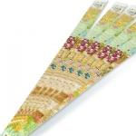 สายคาดกล่องลายดอกไม้สีเขียวน้ำตาล 2.2x31.3 cm. 50 ชิ้น : 005542