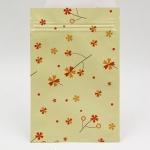 ซองซิปลายดอกไม้สีส้มแดงพื้นหลังสีครีม 100 ชิ้น (คลิกเพื่อเลือกขนาด) 004616