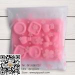 ถุงซองขุ่นลายดอกไม้สีชมพูแบบมีเทปกาวในตัว 14x14 cm. 100 ชิ้น : Z004797