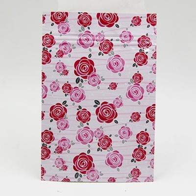 ซองซิปลายดอกกุหลาบสีแดงชมพูพื้นหลังสีขาว 100 ชิ้น (คลิกเพื่อเลือกขนาด) 004617