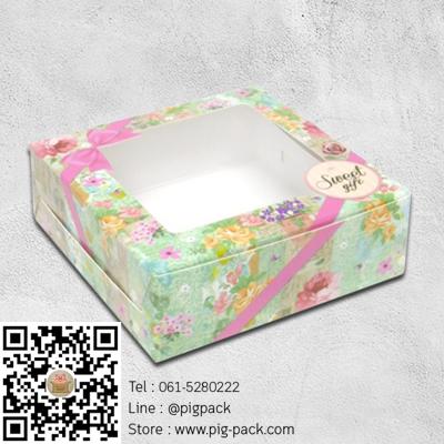 กล่องกระดาษลายดอกไม้โชว์สินค้า 8.2x8.2x3 cm. 60 ชิ้น : 004553