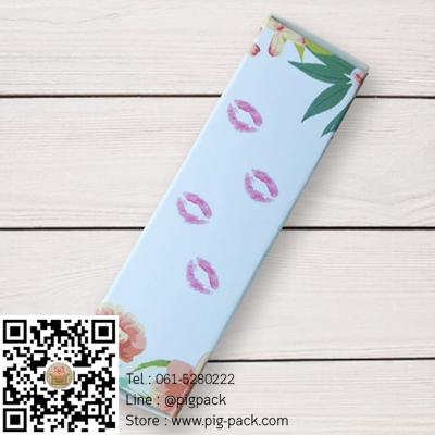 กล่องกระดาษปิดบนล่างสีขาวลายดอกไม้สีส้มปาก 2.5x2.5x8.5 cm. 50 ชิ้น : 1F005007