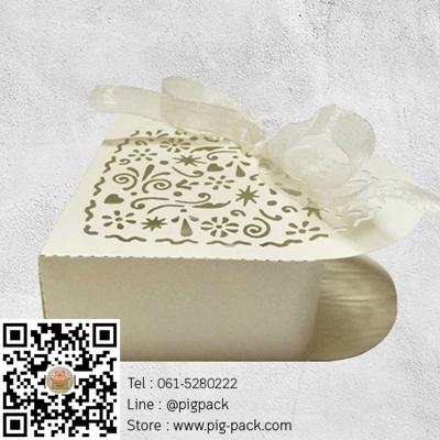 กล่องกระดาษสีขาวรูปหัวใจฉลุลายมีโบว์ 5x7x3 cm. 50 ชิ้น : E004630