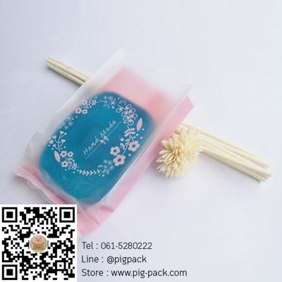 ถุงซองพลาสติกขุ่นขยายข้างพื้นหลังสีชมพูลายดอกไม้ Handmade 6.5x11+2.5 cm. 100 ชิ้น : Y004792