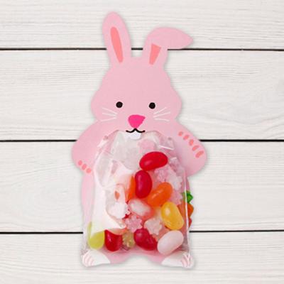 ถุงซองพลาสติกใสพร้อมที่รัดถุงลายกระต่ายสีชมพู 6x11 cm. 100 ชิ้น : W004765