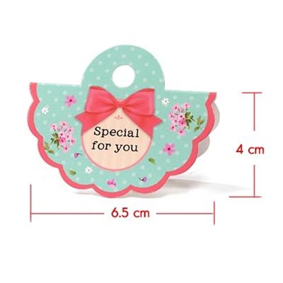 หัวถุงลายดอกไม้สีฟ้าลายจุด 4x6.5 cm. 50 ชิ้น : A004648