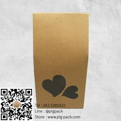 กล่องกระดาษคราฟเจาะรูรูปหัวใจคู่ 5x8x9.5 cm. 50 ชิ้น : A004600