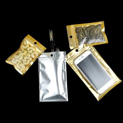 ซองซิปหน้าใสพื้นหลังด้านในสีทอง ด้านนอกสีเงิน มีรูแขวน 100 ชิ้น (คลิกเพื่อเลือกขนาด)
