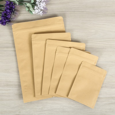 ถุงซองซิปกระดาษคราฟด้านในสีเงิน 100 ชิ้น (คลิกเพื่อเลือกขนาด)