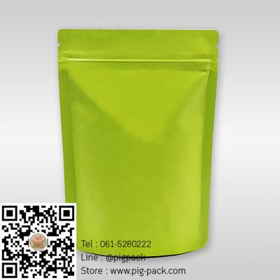 ซองซิปฟอยล์เนื้อด้านตั้งได้สีเขียว 13x18+3 cm. 100 ชิ้น : 005286