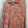 เสื้อเชิ้ตผ้ายืดสเปนเด็กซ์แขนยาวสีสันสวยสดใสมาก พื้นส้มสลับลายขาวใบไม้ รหัส E18