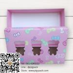 กล่องกระดาษแบบฝาปิดสีชมพูลายการ์ตูนมีช่องโชว์สินค้ารูปหมี 17.5x11.5x4 cm. 25 ชิ้น : S004732