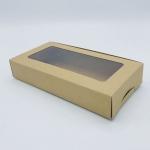 กล่องกระดาษทรงสี่เหลี่ยมผืนผ้าสีวอลนัท-บราวน์ โชว์หน้าสินค้า ขนาด 22x12x4 cm. 50 ชิ้น รหัสสินค้า: 005664