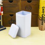 กระป๋องสี่เหลี่ยมสีขาวแบบฝาปิดด้านบน 7.4x7.4x14.4 cm. 20 ชิ้น : 000000