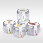 ขวดพลาสติกใสแบบฝาปิดอลูมิเนียม 7x7x8.5 cm. (325 ml.) 20 ชิ้น : 005397