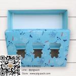 กล่องกระดาษแบบฝาปิดสีฟ้าลายการ์ตูนมีช่องโชว์สินค้ารูปหมี 17.5x11.5x4 cm. 20 ชิ้น : S004731