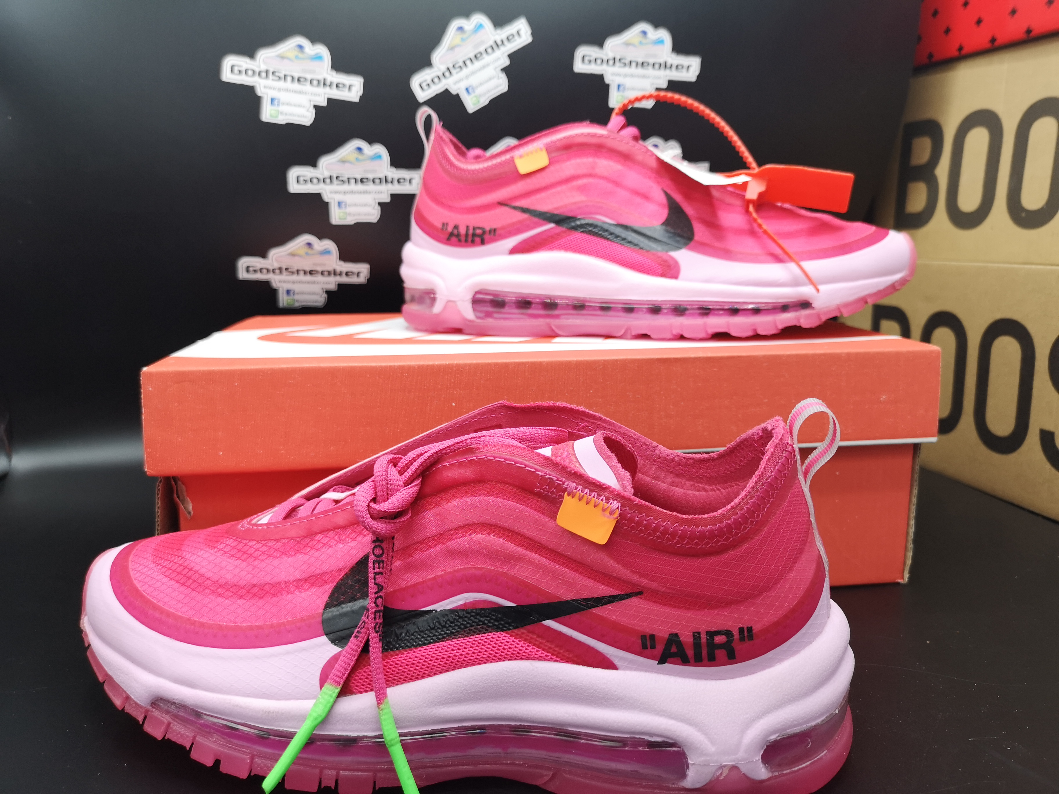 65f314c0ee Nike Air Max 97 Off White OG Shoes Coral Pink Black White Size 36-40 ...